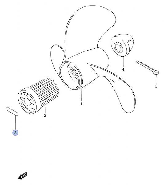 suzuki shear pin drive pin  dt5 dt6 and dt8  2 stroke